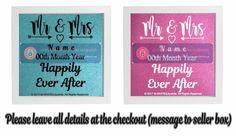 Wedding Gift Vinyl Sticker DIY Box FRAME  Mr & Mrs NAME/DATE Happily Ever After  #Unbranded