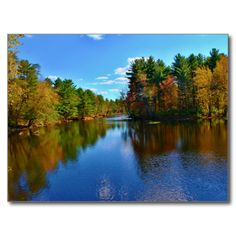 Pushaw Stream Autumn Reflections II Postcard (Pkg of 8) by KJacksonPhotography --  Taken 10.10.2014 Pushaw Stream reflecting the blue and cloudy skies and the reds, oranges and yellows of the fall foilage on an autumn early afternoon.PC:235.275 #nature #photography #autumn #reflections #landscape #postcard #postcards