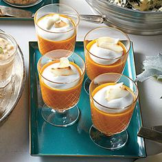 Pumpkin-Carrot Soup Shooters with Coconut Cream | MyRecipes.com