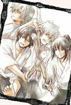 Gintoki Takasugi Katsura and Oboro. Gintoki Takasugi Katsura and Oboro. Manga Anime, Anime Art, Anime Chibi, Silver Samurai, Crying My Eyes Out, Otaku Mode, Gekkan Shoujo, Okikagu, Durarara