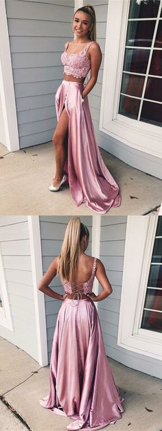 Two Piece Square Lace-Up Pink Split Prom Dress with Lace Pockets Prom Dress Two Piece, Prom Dress, Pink Prom Dress, Lace Prom Dress Prom Dresses 2019