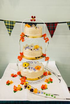 Homemade Wedding Cake Decorated With Edible Flowers Calendula Borage And Nasturtiums