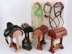Saddle stands for miniature horse tack, with bridle rack wall