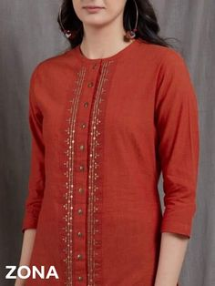 Neck Designs For Suits, Dress Neck Designs, Designs For Dresses, Sleeve Designs, Hand Embroidery Dress, Kurti Embroidery Design, Embroidery Patterns, Simple Embroidery, Churidar Designs