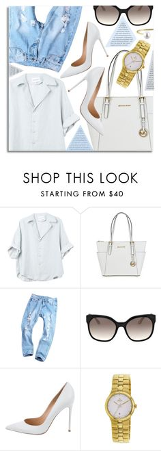 """""""Simplicity"""" by jomashop ❤ liked on Polyvore featuring Prada, Gianvito Rossi, Obaku, white and Blue"""