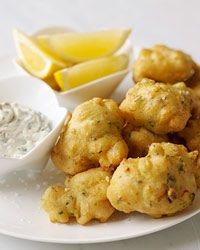 scallop fritters by chef jimmy bradley >> perfect appetizers for a summer crab boil – pair it with a cold beer in a frosty mug