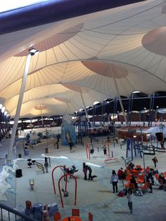 Ice Skating ring tensile membrane roof Deventer Holland by Poly-Ned Fabric Structure, Shade Structure, Light Architecture, Architecture Design, Membrane Structure, Tensile Structures, Swimming Pool House, Roof Design, Concrete Floors