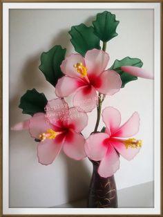 Nylon Flowers, Cloth Flowers, Paper Flowers Diy, Satin Flowers, Handmade Flowers, Felt Flowers, Fabric Flowers, Jute Crafts, Ribbon Crafts
