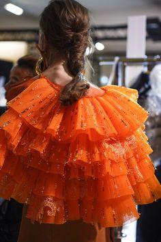 "Pretty Things - Design by Mark Sikes ""Flowing Dress"" painting by Teil Duncan Henley teilart Valentino Haute Couture Spring 2017 Stunning Handmade Raw Organic Gemstone Fashion Art, Editorial Fashion, Runway Fashion, Orange Twist, Orange Color, Orange Style, Dress Painting, Flowing Dresses, Spring Hairstyles"