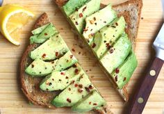 All you'll need is a half of an avocado, bread lightly toasted, a little crushed red pepper, salt and pepper, dash of olive oil and a squirt of lemon.  Done.  Delicious.