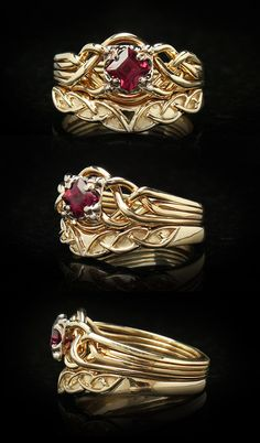 Guinevere Puzzle Ring w/ 4mm Colored Gemstone & Custom Celtic Shadow Band