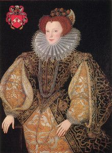 Initially, ruffs had fairly modest dimensions.  However, the introduction of starch to England from the Continent after 1564 facilitated an expansion in the size of ruffs.  From 1580 to 1610, the 'cartwheel' ruff was popular, comprising up to six yards of material, starched into up to 600 pleats, and extending eight inches from the neck.  However, the more traditional, smaller versions continued to be worn (particularly by men), and had experienced a resurgence by 1600.