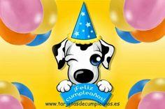 Perro guiñandote el ojo y deseandote un Feliz Cumpleaños