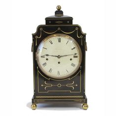 Ebonised Regency bracket clock, chiming on 8 bells