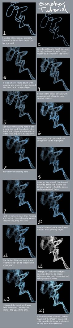 How to Art — Smoke Tutorial by portohleSmoke Tutorial by portohle - Layer modes can save you hours of work with a brush. Experimentation is often the key to success.Hey, here's a tutorial I made for a smoke effect in photoshop. Digital Art Tutorial, Digital Painting Tutorials, Art Tutorials, Drawing Tutorials, Digital Paintings, Drawing Techniques, Drawing Tips, Art Sketches, Art Drawings