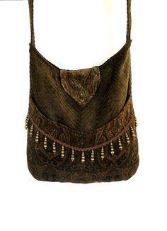 Verde oliva velluto Paisley Gypsy borsa Messenger Bag Boemia verde oliva ciniglia borsa grande rinascimentale sacchetto sacchetto medievale ...