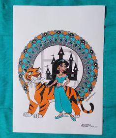 Jasmine 👸 Mandala Design, Mandala Art, Disney Princesses, Zentangle, Jasmine, Doodles, Drawings, Frame, Decor