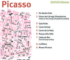 Picasso must-do great landmarks one day walking tour itinerary Barcelona top tourist attractions map