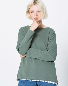 Felpa taglio al vivo - Felpe - Abbigliamento - Donna - PULL&BEAR Italia