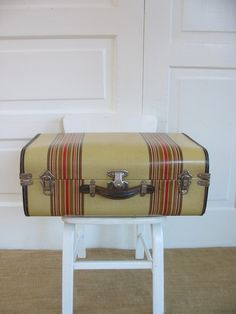 Vintage Striped Suitcase, Brown Tan Suitcase, Vintage Case, Industrial Storage, Antique Suitcase, Striped Case by vintagejane on Etsy