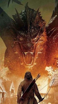 The hobbit: smaug and bard the bowman Gandalf, Legolas, Thranduil, O Hobbit, The Hobbit Movies, Hobbit Dragon, Smaug Dragon, Fantasy Creatures, Mythical Creatures