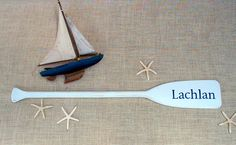 """41"""" Paddle Personalized Painted with Name / Optional Starfish / Nautical Nursery Decor / Beach Decor / Children / Baby / Name Sign / Oar #nautical #baby #babynamesign #nauticaldecor #personalizedbaby #canoepaddle #paddle #oar #nauticalbaby"""