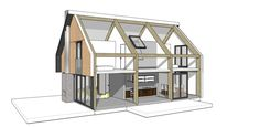 prefab woning houten spanten metalen dak Micro House, Tiny House, Prefab Cottages, Beam Structure, Architecture Drawings, House Rooms, Bungalow, House Plans, Sweet Home