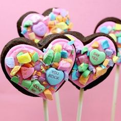 Candy Collage Cookie Pops are cute Valentine's Day crafts that kids and adults can make together for classroom Valentine exchanges, festive party snacks and more.