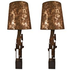 Pair of Brutalist Laurel Lamps by Harry Balmer | From a unique collection of antique and modern table lamps at https://www.1stdibs.com/furniture/lighting/table-lamps/