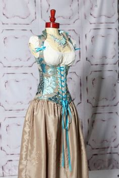 """""""Shades of teal"""" vixen and ivory full length swagger skirt."""