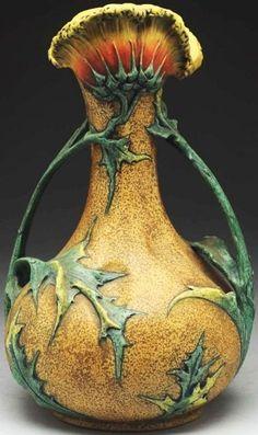Czech Amphora Floriform Vase with Leafy Handles and Open Flower Top