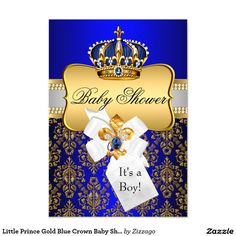 royal blue little prince crown baby shower invite | blue and, the, Baby shower invitations