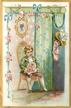 LOVE'S GREETING  boy sits on chair with bouquet, girl peeks round door