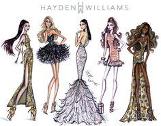 Hayden Williams Fashion Illustrations: Red Carpet Glam by Hayden Williams Look Fashion, Fashion Art, Fashion Models, Fashion Show, Girl Fashion, Fashion Model Sketch, Fashion Design Sketches, Hayden Williams, Infinity Dress Styles