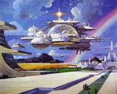 """Artwork by Robert McCall ---Almost reminds me of several locations and eras in the game Chrono Trigger lol. I swear I can almost hear the theme """"Corridors of Time"""" by  Yasunori Mitsuda or """"Silvard/Epoch"""" theme or """"Geno Dome/Factory""""  theme playing in the background. Check it out here: Chrono Trigger OST: http://www.youtube.com/playlist?list=PL21BAA7C6EDEB63A3 ---"""