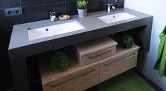 Meuble salle de bain, sur mesure, béton ciré, double vasque.