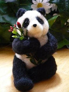 Needle Felted Panda holding some flowers cute One by stoneturtle