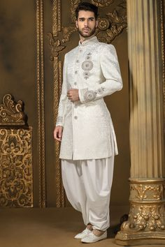 Metallic #white and #silver brocade rich #jodhpuri #sherwani with metallic white dhoti pants -IW327