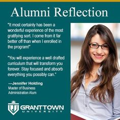 Amazing reflection and words of inspiration from #GrantTownUniversity alum Jennifer Holding. #InspireOthers
