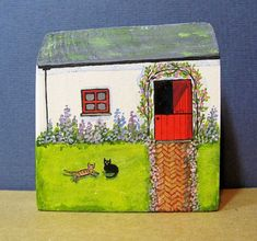 Old Stable Cottage by jamjarart on Etsy by Joy Williams Wood Block Crafts, Pallet Crafts, Wood Crafts, Diy And Crafts, Stone Painting, House Painting, Joy Williams, Ceramic Houses, Wooden Houses