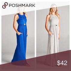 Sleeveless Pocket Maxi Royal blue or heather gray sleeveless racerback maxi dress with pockets Dresses Maxi