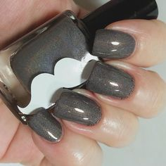 Beorn- brown, dark silver holographic indie nail polish