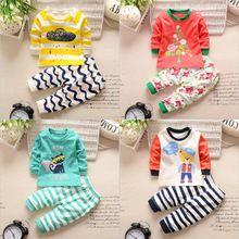 Roupa do bebê 2017 primavera bebê recém-nascido roupas meninos meninas bebê dos desenhos animados cotton baby boy roupas Set Longo-manga roupas de menina alishoppbrasil