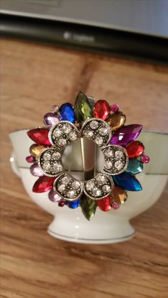 Hair clip barrette clear, red and blue rhinestones
