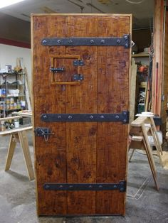 reclaimed with custom forged hinges & latch UPCYCLED WOOD DOOR PROJECT
