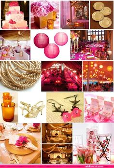 décoration de mariage rose et or