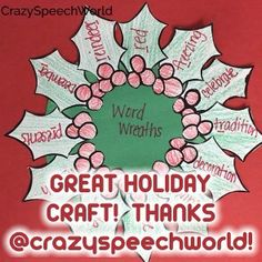 Thanks, @crazyspeechworld for this terrific holiday speech activity!!! I found some holly leaves with berries and copied multiple sheets and they wrote articulation words on each leaf! - - click on pin for more!    - Like our instagram posts?  Please follow us there at instagram.com/pediastaff