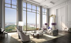 Robert A.M. Stern's 220 Central Park South Tower has parquet flooring, paneled walls and ceiling, a gilded mirror, simple furniture, grand piano, high ceilings and a wall of glass overlooking Central Park.
