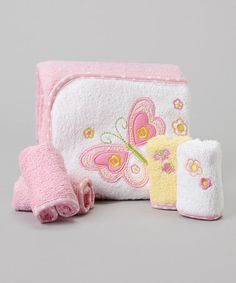 Look what I found on #zulily! Pink Flower Butterfly Terry Hooded Towel Set #zulilyfinds