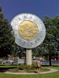 """BIG TOONIE: built in in Campbellford Ontario, to recognize Campbellford artist Brent Townsend who created the polar bear image used on the 2 Dollar Coin, or """"Toonie"""". Canada Ontario, Toronto Canada, Alberta Canada, Canada Funny, Canada Eh, Canada For Kids, Immigration Canada, Canadian Things, Roadside Attractions"""